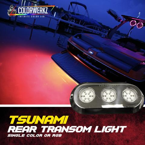 Tsunami Triple Rear Transom Color-Changing LED Marine Light (RGB) LED headlight kit  AutoLEDTech Colorwerkz Oracle Starry Night Flashtech