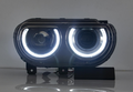 2009-2014 Dodge Challenger LED Halo Headlights - 2015+ Replica Design (Projector)