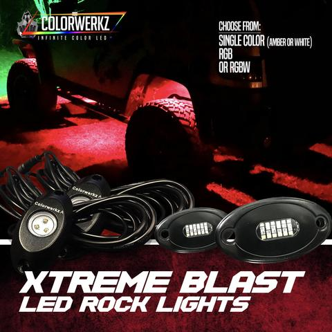 LED Rock Lights Pod Kit (White|Amber|UV Purple|RGBW) LED headlight kit AutoLEDTech Colorwerkz Oracle Lighting Trendz Flow Series Flashtech RGBHaloKits LED Concepts