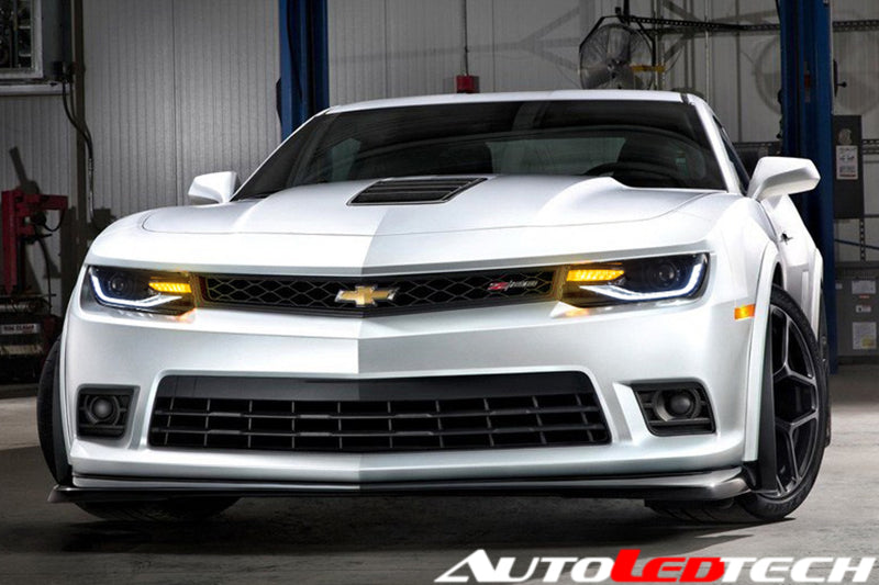 2014-2015 Chevrolet Camaro LED DRL Projector Headlights - 2015+ Replica Design LED headlight kit  AutoLEDTech Colorwerkz Oracle Starry Night Flashtech