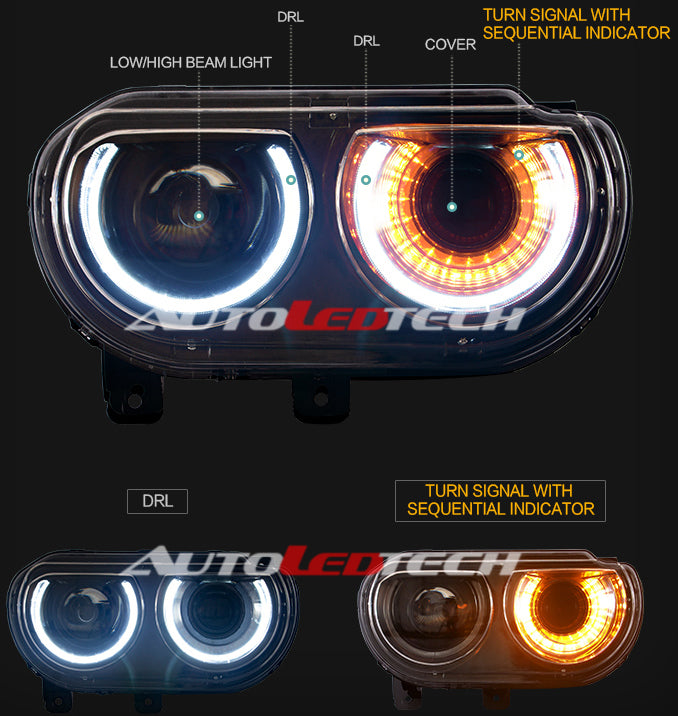 2008-2014 Dodge Challenger LED Halo DRL Projector Headlights - 2015+ Style  Design