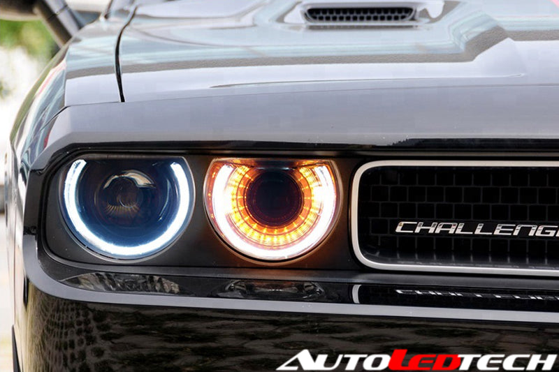 2009-2014 Dodge Challenger LED Halo DRL Projector Headlights - 2015+ Replica Design LED headlight kit  AutoLEDTech Colorwerkz Oracle Starry Night Flashtech