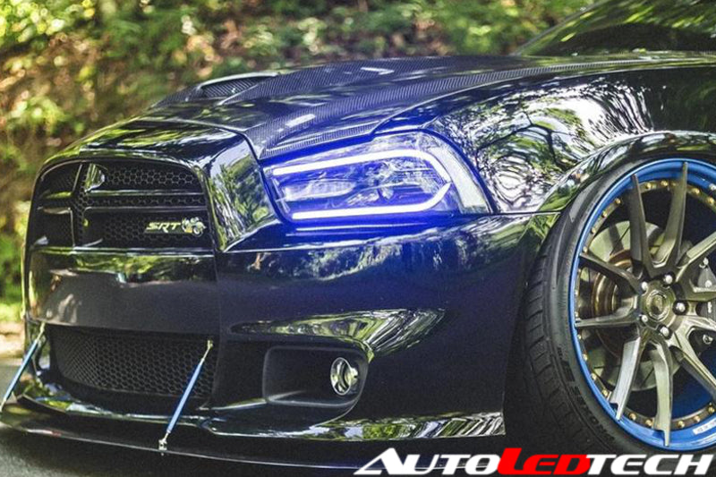 2011-2014 Dodge Charger Color-Chasing LED DRL Projector Replacement Headlights - 2015+ Style Design