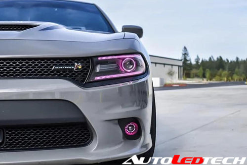 2015-2020 Dodge Charger RGBW / Color-Chasing Halo LED DRL Replacement Headlights - Halogen/HID