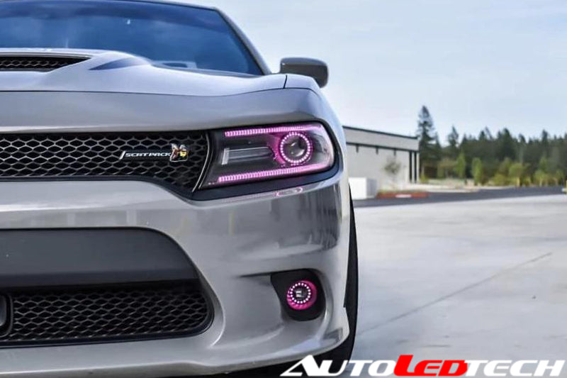 dodge charger scat pack headlights 1-1 Dodge Charger RGBW Color-Chasing Halo LED DRL Headlights -  Halogen/HID (Flow Series)