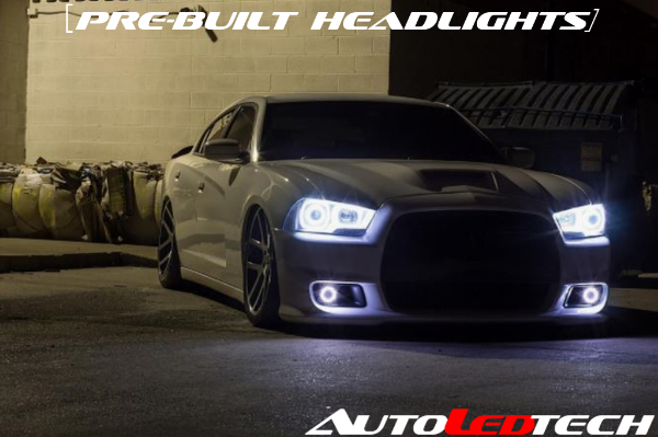 2011-2014 Dodge Charger Prebuilt Halo Headlights (Projector) LED headlight kit  AutoLEDTech Colorwerkz Oracle Starry Night Flashtech