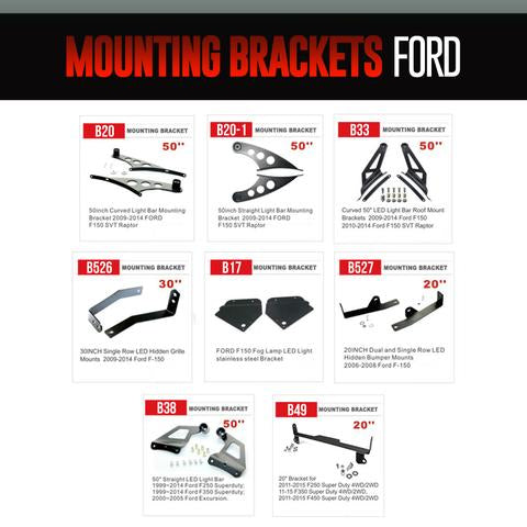 Ford Light Bar Mounting Brackets LED headlight kit  AutoLEDTech Colorwerkz Oracle Starry Night Flashtech