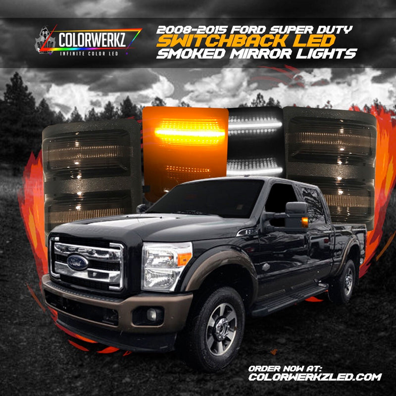 2008-2016 Ford F250 F350 Super Duty Switchback LED Smoked Mirror Lights LED headlight kit AutoLEDTech Colorwerkz Oracle Lighting Trendz Flow Series Flashtech