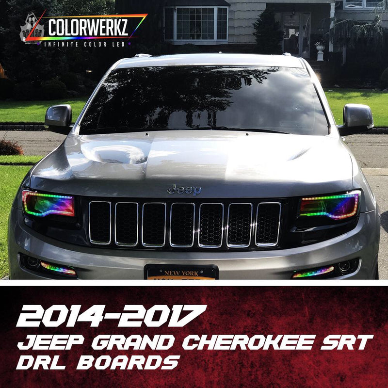 2014-2018 Jeep Grand Cherokee RGBW +A/Color-Chasing LED DRL Boards LED headlight kit  AutoLEDTech Colorwerkz Oracle Starry Night Flashtech