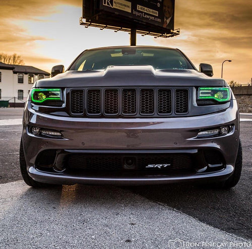 2014-2021 Jeep Grand Cherokee RGBW +A/Color-Chasing LED DRL Boards LED headlight kit AutoLEDTech Colorwerkz Oracle Lighting Trendz Flow Series Flashtech RGBHaloKits LED Concepts