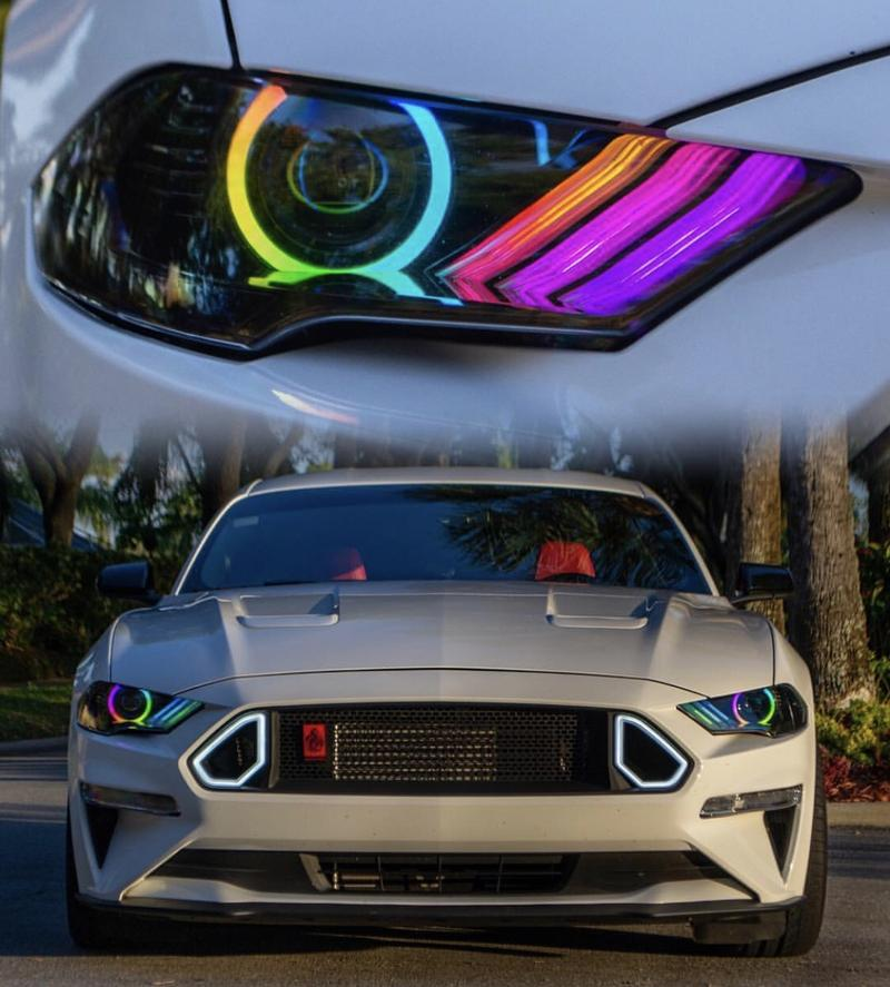 2018 2020 ford mustang rgbw color chasing led drl halo prebuilt headli autoledtech com 2018 2020 ford mustang rgbw color chasing led drl halo prebuilt headlights