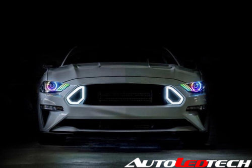 2018-2021 Ford Mustang RGBW Color-Chasing  LED DRL Halo Prebuilt Headlights