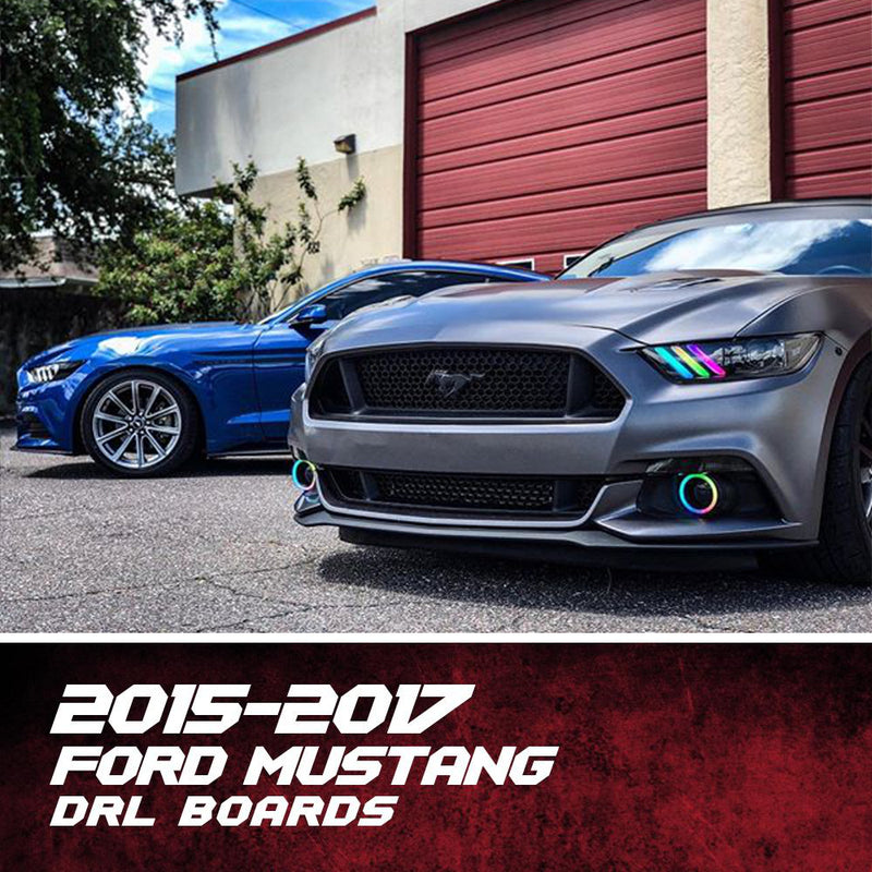 2015-2017 Ford Mustang RGBW Color-Chasing DRL Boards LED headlight kit AutoLEDTech Colorwerkz Oracle Lighting Trendz Flow Series Flashtech