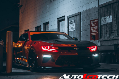 2015-2018 Chevrolet Camaro RS/SS/ZL1 (Projector) Color-Chasing Halo Kit LED headlight kit  AutoLEDTech Colorwerkz Oracle Starry Night Flashtech