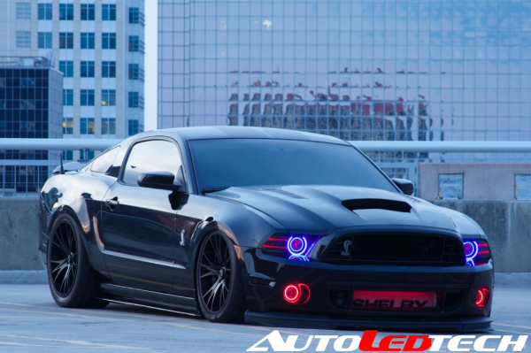 2010-2014 Ford Mustang (Projector) Color-Chasing Halo Kit LED headlight kit  AutoLEDTech Colorwerkz Oracle Starry Night Flashtech