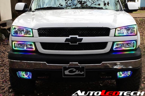 2003-2006 Chevrolet Silverado Prebuilt Color-Chasing Halo Headlights LED headlight kit AutoLEDTech Colorwerkz Oracle Lighting Trendz Flow Series Flashtech RGBHaloKits LED Concepts