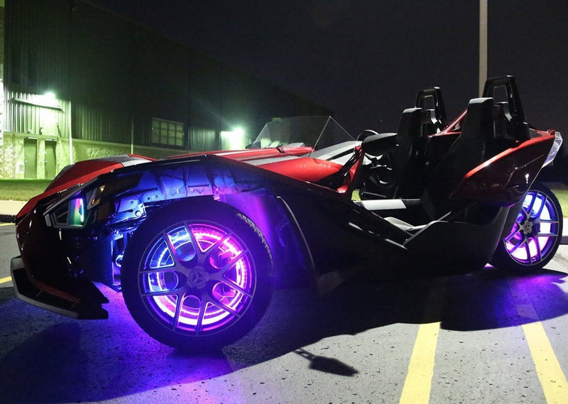 2014-2020 Polaris Slingshot Color-Chasing Wheel Ring Lights Kit (Flow Series) LED headlight kit AutoLEDTech Colorwerkz Oracle Lighting Trendz Flow Series Flashtech RGBHaloKits LED Concepts