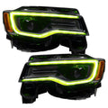 2014-2021 Jeep Grand Cherokee WK2 RGBW / Color-Chasing LED DRL Replacement Headlights - Halogen to LED DRL HID Conversion