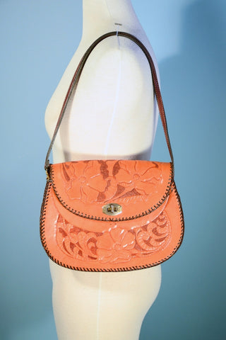 Vintage Hand Tooled Leather Shoulder Handbag, Western Boho Hippie Whip Stitched Purse