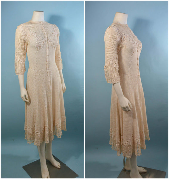 Vintage 1930s Cream Crochet Boho Midi Dress, Romantic Bohemian Wedding Day Dress S