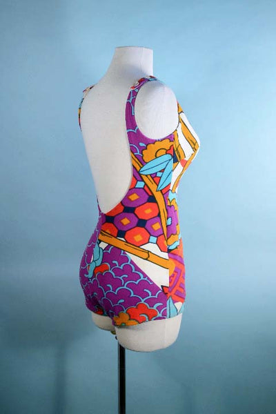 Vintage 60s Mod Swimsuit, Low Cut Back, One Piece Bathing Suit, Asian Pattern Cole of California S