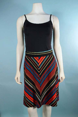 Vintage 70s Striped Mini Disco Skirt, A line Preppy Skirt 26