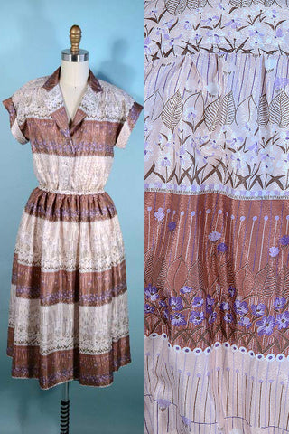 Vintage 70s Striped Floral Dress, Cream Taupe Shirtwaist Short Sleeve Preppy Secretary Dress SZ S