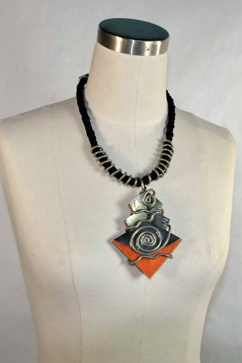 Vintage 80s Mother of Pearl Post Modern Necklace, Handcrafted Reversible Pendant Necklace