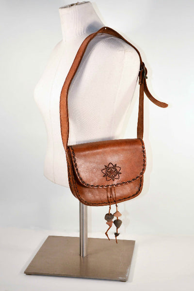 Vintage Hand Tooled Leather Southwestern Handbag + Ceramic Beads/ Hipster Boho Beaded Leather Shoulder Bag