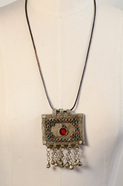 Vintage Ethnic Tribal Afghan Silver Tone Pendant Necklace, Boho Gypsy Hippie Jewelry
