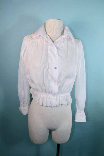 Antique White Cotton Edwardian Victorian Blouse, Crochet Pink Trim,  Cuffed Long Sleeves