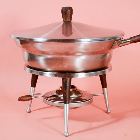 Vintage Mid Century Atomic Space Age Chafing Serving Pan Stainless Steel Wood Food Warmer