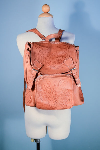 Vintage Tooled Leather Backpack, Rucksack Boho Shoulder Bag