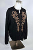 Vintage 50s Black Wool Bronze Beaded Cardigan Sweater, Party Pinup Sweater Size 44