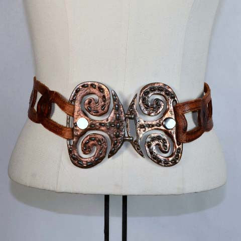 Vintage 60s/70s Handcrafted Bohemian Hippie Leather Belt with Metal Buckles/ Boho Brutalist Style Metal Work Buckle