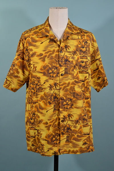 Vintage 60s Yellow Brown Hawaiian Shirt, Polynesian Print Aloha Shirt by Bishop L