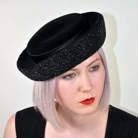 Vintage 60s Mod Black Velour Hat + Beads + Satin Bows, Evening Wear Church Hat by Jan Leslie