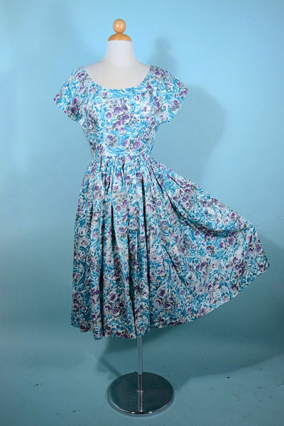 Vintage 50s Teal Purple Print Dress, Fit and Flare Full Skirt Fitted 26
