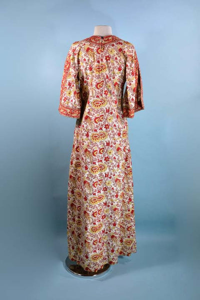 Vintage 70s Boho Block Print Maxi Dress Caftan/ Hippie Gypsy Bohemian Bell Sleeve Lounge Dress S