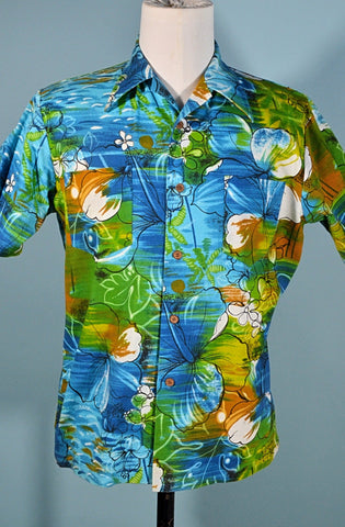 Vintage 60s/70s Hawaiian Shirt Polynesian Floral Print, Cotton Barkcloth Aloha Shirt, The Broadway made in Japan Size M