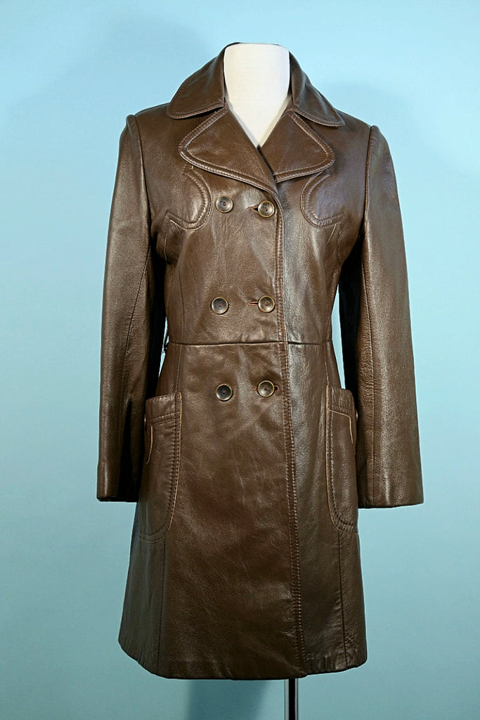 Vintage 60s Brown Leather Double Breasted Coat, Mod Hippie Leather Trench Coat S