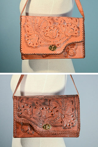 Vintage Tooled Leather Reversible Shoulder Bag, Brown + Tan 2 in One Boho Purse