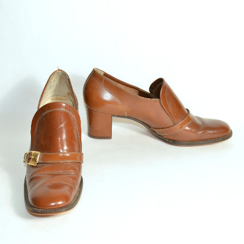 Vintage 60s Mod Brown Leather Buckle Slip On Shoes/ Chunky Heel Buckle Pilgrim Shoes Size 6 1/2 AA