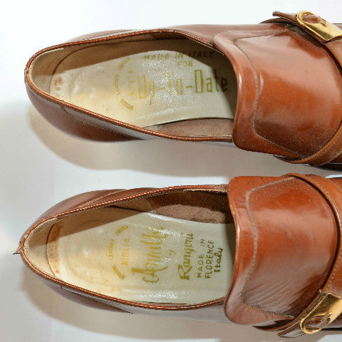 1c54b86bee8 Vintage 60s Mod Brown Leather Buckle Slip On Shoes  Chunky Heel Buckle –  Papillon Vintage Shop