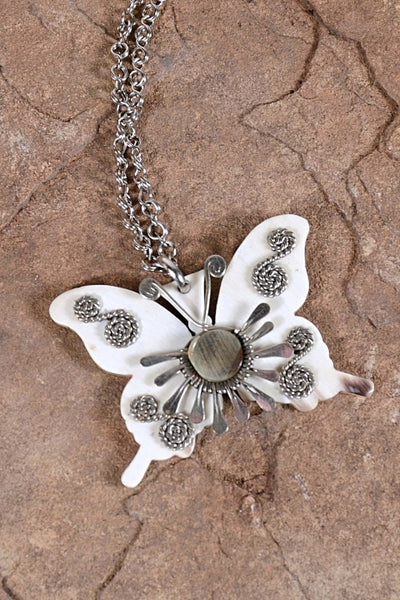 Vintage 60s/70s Butterfly Pendant Necklace, Handcrafted Boho Hippie Faux Bone Necklace