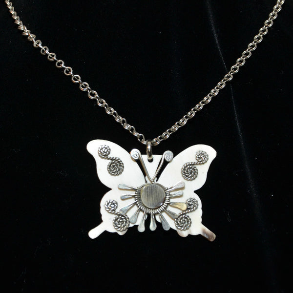Vintage 60s/70s Butterfly Pendant Necklace, Handcrafted Boho Hippie Summer of Love Faux Bone Necklace