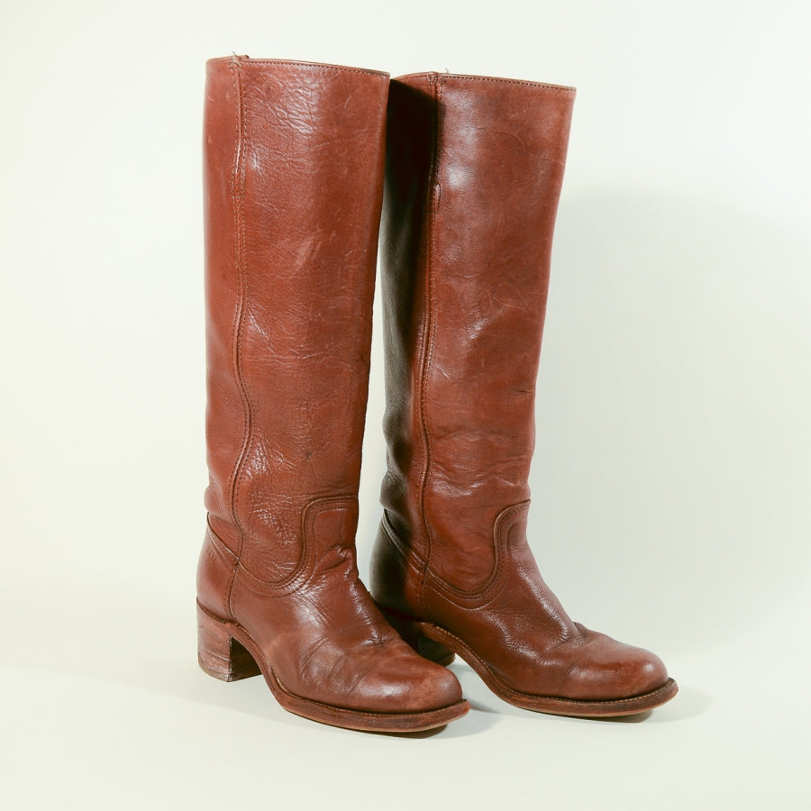 70s Frye Campus Riding Boot, Boho Tall Pull on Russet Brown #6505, Black + White Label 7B