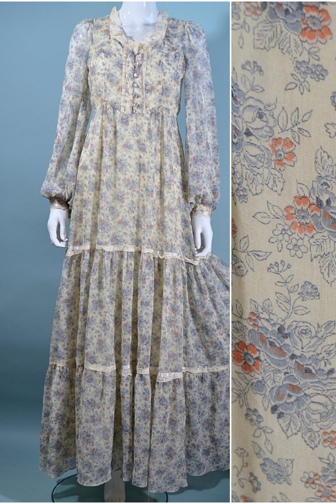 70s vintage maxi cottagecore prairie dress in the most beautiful floral pattern