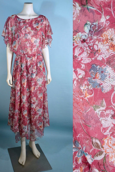 Vintage 70s Floral Flutter Sleeve Midi Dress, Handkerchief Point Asymmetrical Hem S/M