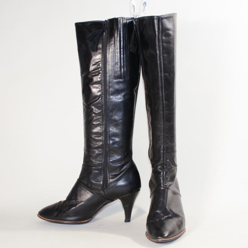 70s Black Leather Boots, Tall High Heel Boot Cobbie 9M